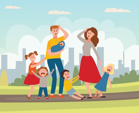 Vector parenthood problems of big family concept. Tired, exhausted father and mother with naughty and nasty children. Mom and dad trying to handle crying sons, daughters and newborn baby. Parenting Banque d'images - 124654907