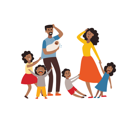 Vector parenthood problems of big family concept. Tired, exhausted african father and mother with naughty and nasty children. Mom and dad trying to handle crying sons, daughters and newborn baby. Illustration