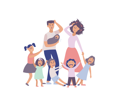 Vector parenthood problems of big family concept. Tired, exhausted father and mother with naughty and nasty children. Mom and dad trying to handle crying sons, daughters and newborn baby. Parenting