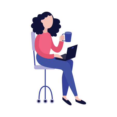 Young woman with laptop and cup of hot drink sitting in chair isolated on white background - vector illustration of blogger, writer or freelancer concept design in flat style. 向量圖像