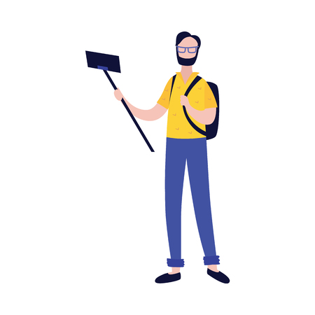 Young man with backpack making photo or video of himself with camera on mobile phone and selfie stick in flat style - isolated vector illustration of creating content for blog concept.