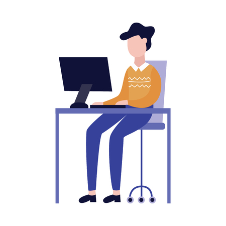 Young man sitting at table and writing post for blog on computer in flat style isolated on white background - vector illustration of blogger typing content or comment on pc.