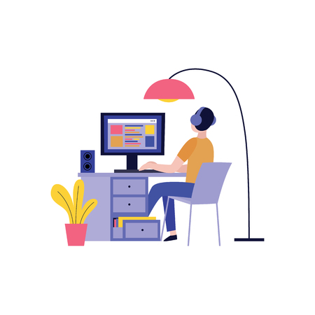 Vue arrière de l'homme dans les écouteurs travaillant avec un ordinateur et créant un site Web dans un style plat isolé sur fond blanc - illustration vectorielle de la conception de concept de blogueur, écrivain ou pigiste. Vecteurs