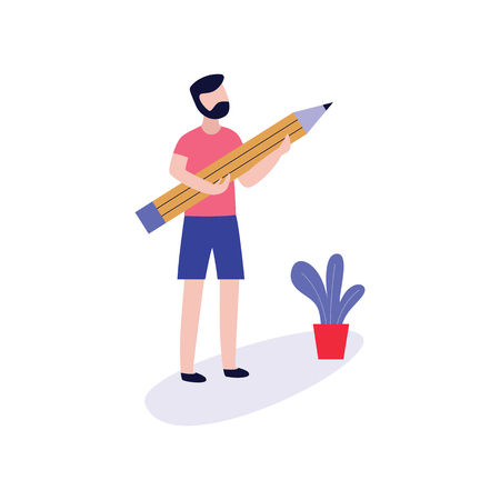 Young man holding big pencil for blogging, storytelling or copywriting concept design in flat style - vector illustration of male character creating content for blog isolated on white background.