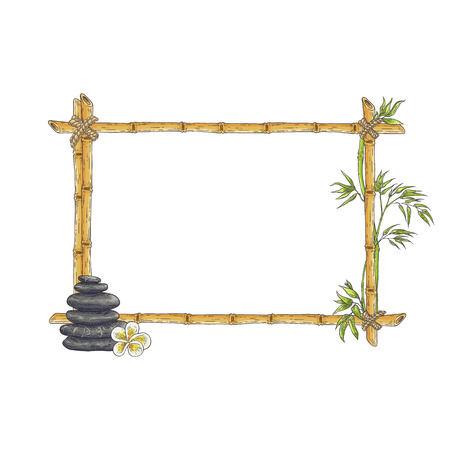 Vector bamboo frame with balance zen pebble stones, abstract green plants leaves. Traditional chinese, eastern decoration. Sketch wooden sicks binded by rope. Asian design background