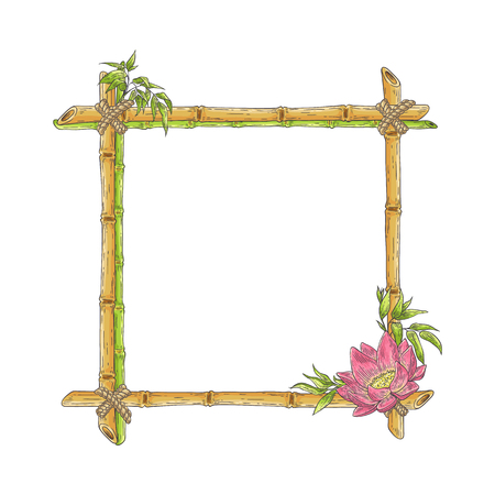 Vector bamboo frame with lotus flower, abstract green plants and leaves. Traditional chinese, eastern culture decoration with copy space. Sketch wooden sicks binded by rope. Asian design background. Vettoriali