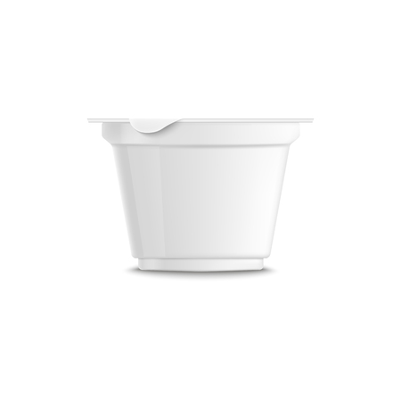 Empty clear white plastic trapezoidal yogurt 3d realistic container with closed lid and grooved, yogurt packing template, vector illustration.