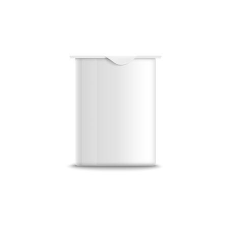 Realistic packaging mockup milk food template. Empty clear white plastic rectangular yogurt container. Realistic 3d vector illustration og yogurt. Illustration