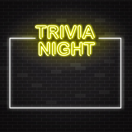Trivia night yellow neon sign in white frame on dark brick wall background with copy space. Vector illustration of illuminated pub quiz or contest announcement poster in realistic style.