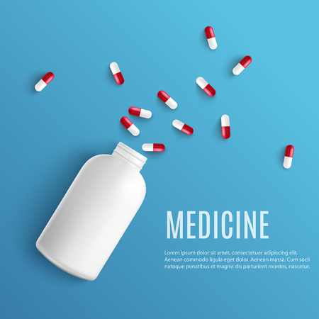 Capsule pills pouring out of white blank bottle in realistic style isolated on blue background with copy space - vector illustration of medicine scattered from plastic jar for healthcare concept.