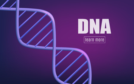 Violet glowing background of realistic 3d dna molecular structure. Chemical and medical science for the health of genes and dna, vector illustration background.