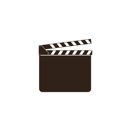 Blank movie clapper, clapboard, black open clapperboard and slate board for film and cinema industry. Vector illustration and cinema icon isolated on white background in a flat style.
