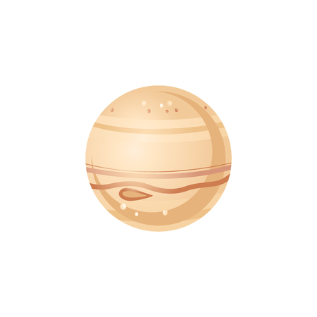 Jupiter in flat style - vector illustration of largest planet of solar system. Brown sphere celestial body isolated on white background for outer space exploration concept and infographic.