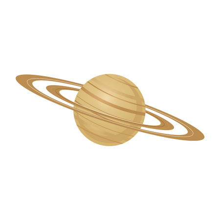 Sixth planet of solar system Saturn with rings in flat style - vector illustration of brown celestial body with cloud layers around isolated on white background for outer space exploration concept.