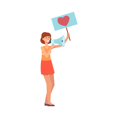 Young woman holding placard with heart symbol and megaphone in flat style isolated on white background - vector illustration of female parade activist or peace demonstration participant.