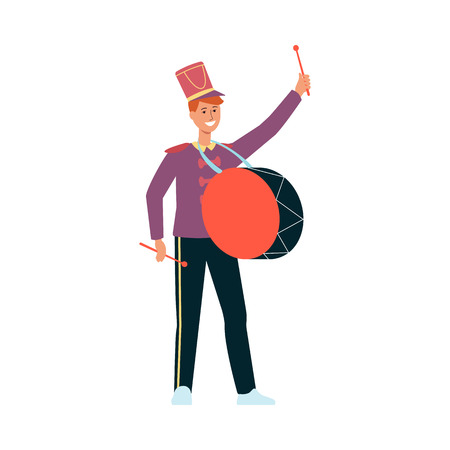 Young man in parade costume with drum in flat style isolated on white background - vector illustration of male smiling drummer marching and playing music at festival or holiday. Иллюстрация