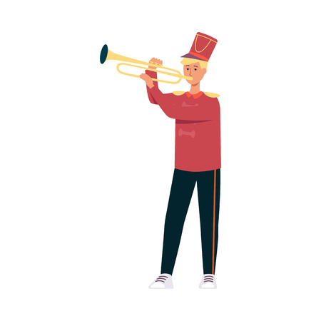 Young man in festive parade costume playing music with trumpet in flat style isolated on white background - vector illustration of male musician from marching band on holiday.