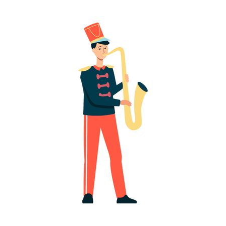 Young man in festive parade costume playing music with saxophone in flat style isolated on white background. Vector illustration of male musician from marching band on holiday. Vectores