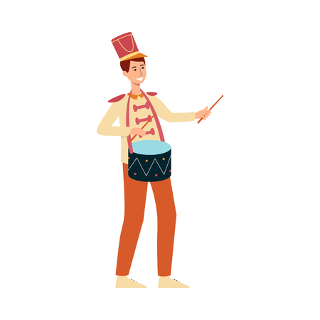 Young man in parade costume with drum in flat style isolated on white background. Vector illustration of male smiling drummer marching and playing music at festival or holiday. Illusztráció