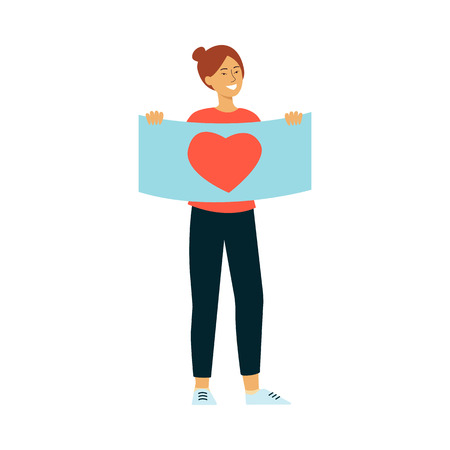 Young smiling woman holding placard with heart symbol in flat style isolated on white background. Vector illustration of female parade activist or peace demonstration participant.