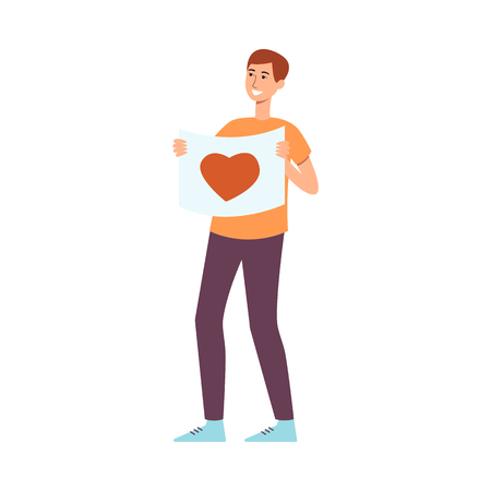 Young man holding poster with heart symbol in flat style for love and peace parade or festival concept - isolated vector illustration of male demonstration activist with placard.