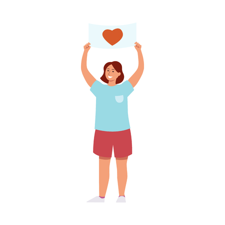 Vector illustration of young smiling woman holding placard with heart symbol. female parade activist or peace demonstration participant in flat style isolated on white background.