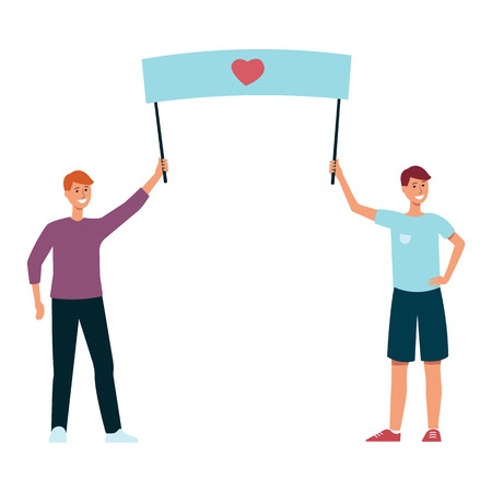 Vector illustration of two guys holding placard with heart symbol in flat style isolated on white background. Male demonstration participants with poster for love and peace parade or festival concept. Иллюстрация