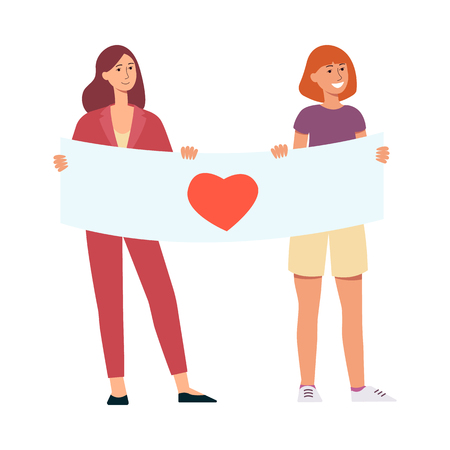 Two young smiling girls holding poster with heart symbol for peace and love parade concept in flat style - vector illustration of demonstration participant isolated on white background.