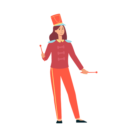 Young woman in parade costume with drumsticks in flat style isolated on white background - vector illustration of female smiling character from marching band at festival or holiday. Иллюстрация