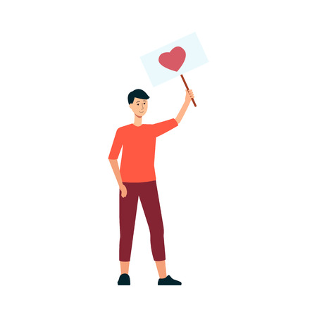 Young man holding poster with heart symbol in flat style for love and peace parade or festival concept. Vector illustration of male demonstration activist with placard isolated on white background. Иллюстрация