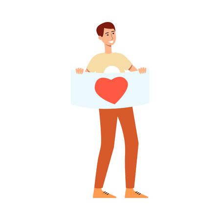 Young smiling man holding placard with heart symbol taking part in love and peace parade or festival in flat style isolated on white background - vector illustration of male demonstration activist.