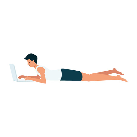 Smiling man is lying down with laptop cartoon style, vector illustration isolated on white background. Relaxed guy is working on computer at home, freelance lifestyle