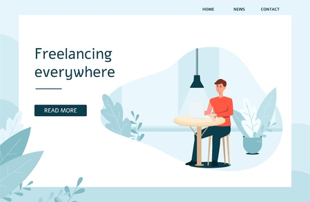 Web site template with man and laptop sitting at the table cartoon style, vector illustration on flat background. Banner about freelance work with place for text