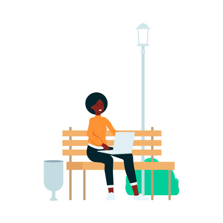 African-American woman is sitting with laptop on park bench cartoon style, vector illustration isolated on white background. Freelance girl is working on computer outdoor