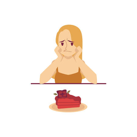 Sad woman sitting at table and looking at cake during diet cartoon style, vector illustration isolated on white background. Female is sitting in front of plate with dessert