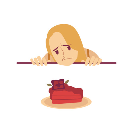 Sad woman is looking at cake from under the table cartoon style, vector illustration isolated on white background. Upset female looks at dessert during diet, unhealthy food