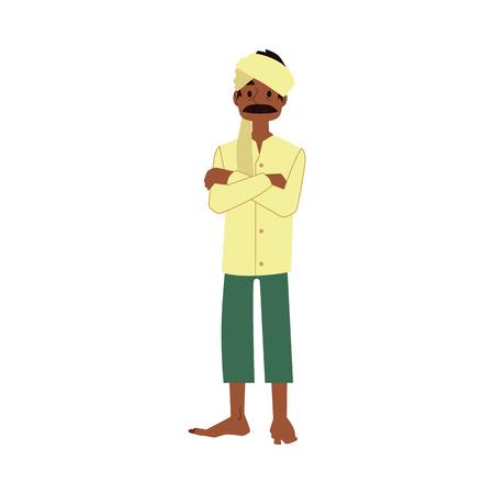 Vector alegre agricultor indio de pie con los brazos cruzados, barefood con pañuelo tradicional. Personaje masculino rural de la aldea de la india, pakistán o bangladesh, trabajador de la industria agrícola.