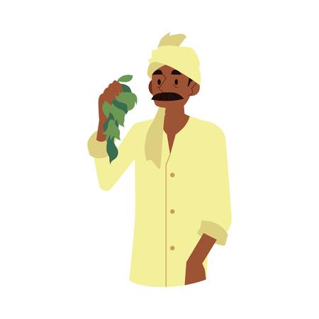Allegro contadino indiano di vettore che indossa il velo tradizionale che tiene le foglie di luppolo raccolto biologico verde. Personaggio maschile del villaggio rurale dell'India, del Pakistan o del Bangladesh, lavoratore dell'industria agricola.