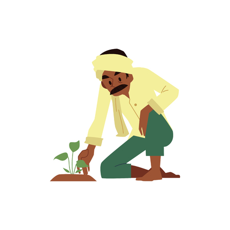 Vector cheerful indian farmer barefood in traditional headscarf examining seedling. Rural india, pakistan or bangladesh village male character, agriculture industry worker.