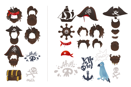 Vector pirate symbols photo booth prop set. Captain hat with crossbones, skull, and beard, anchor, parrot, treasure chest, helm, boat steering wheel and sailboat for party costume scrapbooking decor
