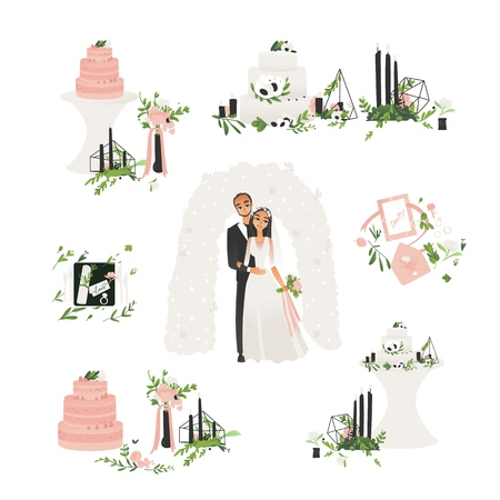 Vector wedding ceremony symbols set. Bride and groom standing under altar holding flower bouquet, wedding cake, invitations and candles. Marriage celebration concept, man and woman in white dress. Illusztráció