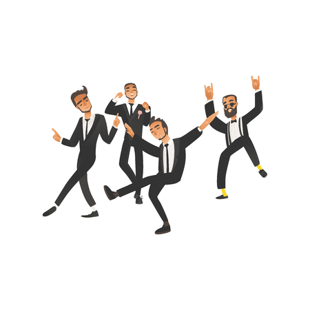Dansing and happy groom and groomsman on wedding ceremony in flat cartoon style. Young wedding man, groom, isolated vector illustration on white background. Ilustração