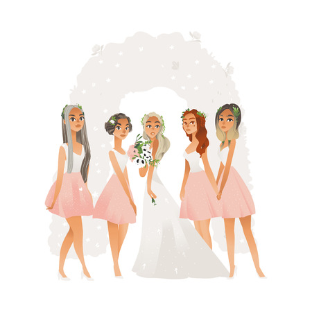 Hermosa joven novia en vestido de novia con dama de honor, mujer y niña, equipo de novia. Dama de honor y novia en ceremonia de boda. Ilustración de vector aislado sobre fondo blanco.