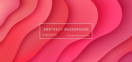Vector rode abstracte achtergrond met expressieve koraal Golf bewegingsstroom. Presentatiesjabloon in moderne stijl, commerciële posterlay-out, dynamische creatieve advertentiebanner met ruimte voor tekst