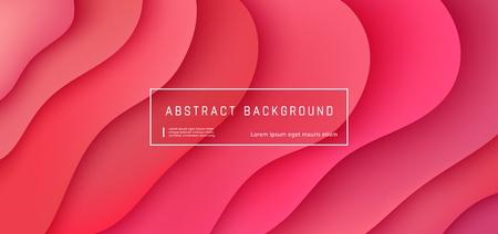 Vektorroter abstrakter Hintergrund mit ausdrucksstarkem Korallenwellen-Bewegungsfluss. Präsentationsvorlage im modernen Stil, kommerzielles Poster-Layout, dynamisches kreatives Werbebanner mit Platz für Text