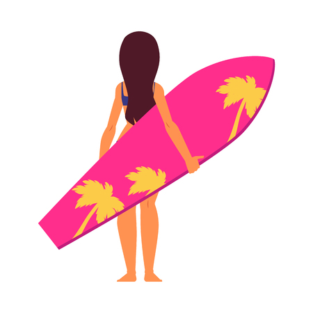 Young woman surfer in cartoon style standing backside with pink surfboard. Isolated vector illustration on white background.