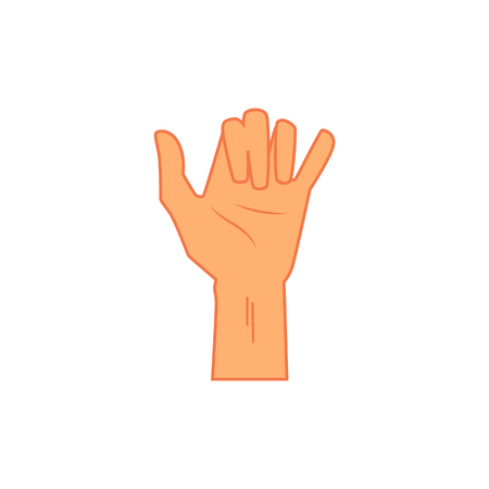 Surfing shaka hand sign, icon in flat cartoon style. Hang loose hand gesture, isolated vector illustration on white background.