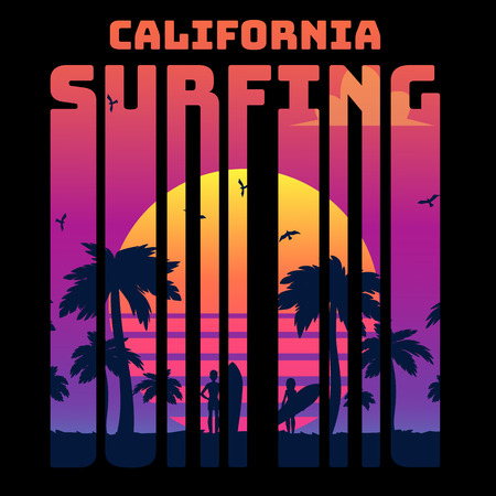 Summer tropical text California surfing with sunset gradient and palms and surfers silhouette, vector illustration in retro 80s style. 일러스트