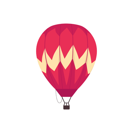 Vector hot air balloon with basket sketch icon. Symbol of freedom, adventure and travelling. Vintage colorful aircraft for expeditions. Balon aviation for journey. Isolated illustration