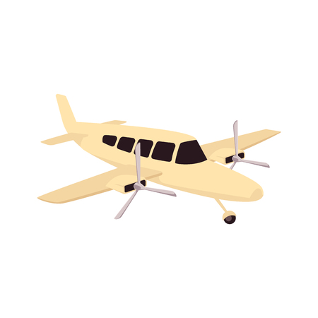 Vector vintage airplane with two propellers sketch icon. Old aviation transportation with screw engine motor. Retro aircraft, jet symbol of adventure and travelling. Isolated illustration.